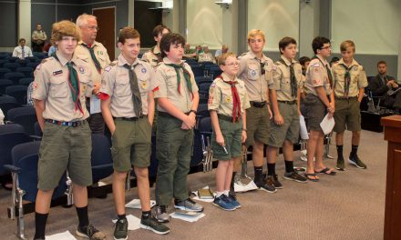 Boy Scout Troop 39 Leads Pledge of Allegiance at Forsyth County Board of Commissioners' Meeting